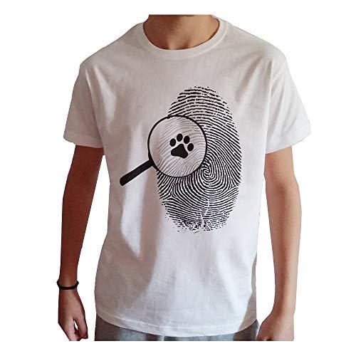 VersoLibre Camiseta diseño lupa con huella. Unisex. 100% algodón. (XL)