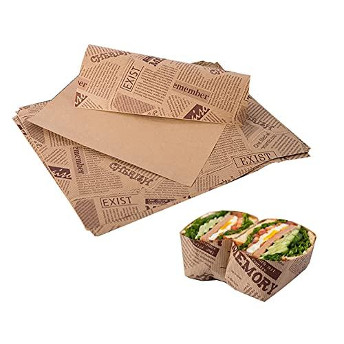 Wachspapier Antihaft Lebensmittel Wrapping Papers Geschenkpapier Zum Von KäSe Tissue Verdicken FüR Sandwich, KäSe, Obst, Brot, GemüSe,FettbestäNdig Hamburger Wrap Verhindert Lebensmittelflecken