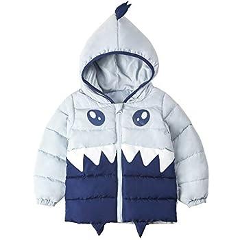 COTTON FAIRY Baby Boy Shark Dinosaur Zip Hoodie Jackets Winter Coat 3T Blue