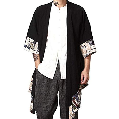 HZCX FASHION Men's Cotton Linen Long Kimono Jackets Open Front Cardigan Cloak(Yellow,S)