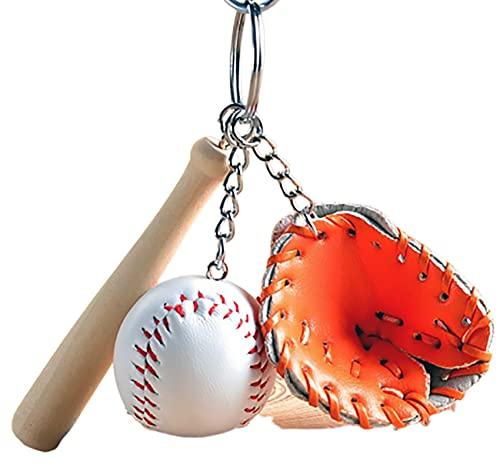 キーホルダー 野球 グローブ バット スポーツ シリーズ キーチェーン キーリング チャーム アクセサリー 手作り キーホルダーにしたりプレゼントや大会の景品などにも (オレンジ)