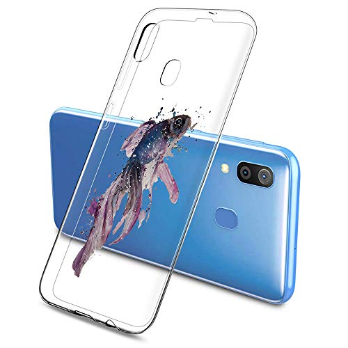 Suhctup Case Compatible con Samsung Galaxy S20 Plus Funda Transparente Suave Silicona TPU Bumper Cárcasa Dibujos Animales Diseño Ultra Delgada Antigolpes de Protector Piel Cover,Carpa Morada