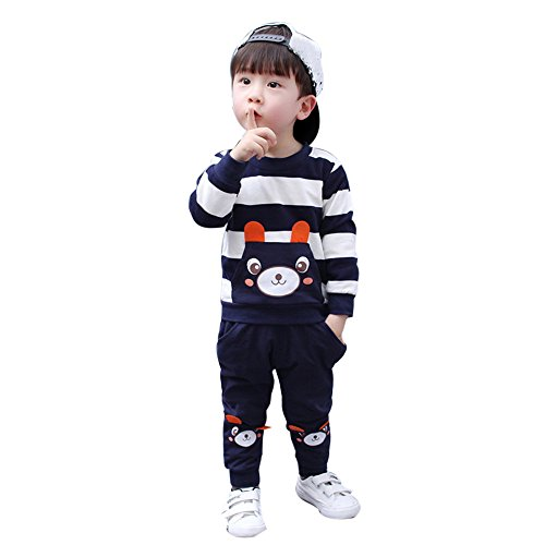 MRULIC Vår höst barn baby pojkar set randiga björnar toppar byxor kläder overaller set 1–5 år, Marinblå, 90/100 cm