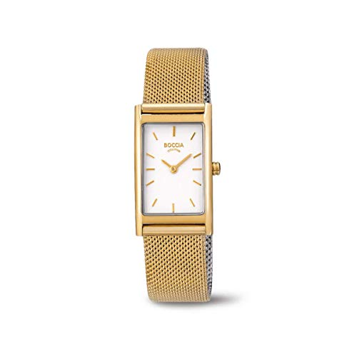 Boccia Damen Analog Quarz Uhr mit Titan Armband 3304-03