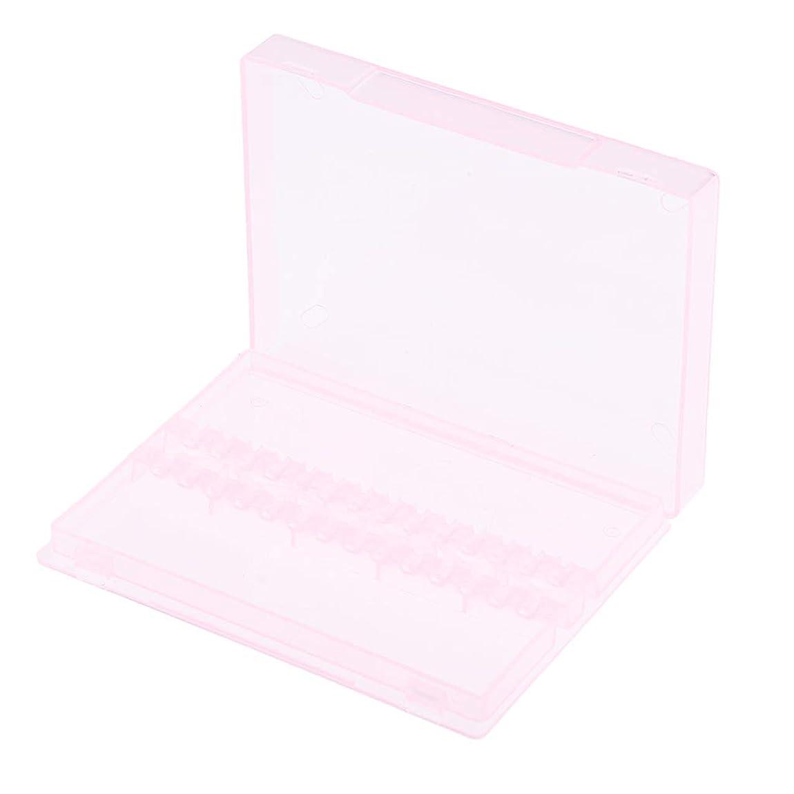 霜摩擦モスCUTICATE 14穴透明ネイルアートドリルビットホルダースタンド展示会ディスプレイオーガナイザー - ピンク