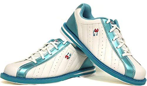 Bowling-Schuhe, 3G Kicks, Damen und Herren, für Rechts- und Linkshänder in 7 Farben Schuhgröße 36-48 (weiß-blau, 40 (US 7.5))