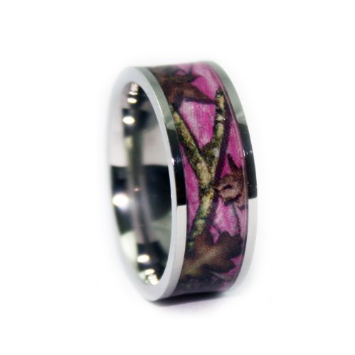 #1 Camo Flat Titanium Pink Rings - Camouflage Engagement Wedding Ring - Pink Camo Bands for Women - Ring Size 10