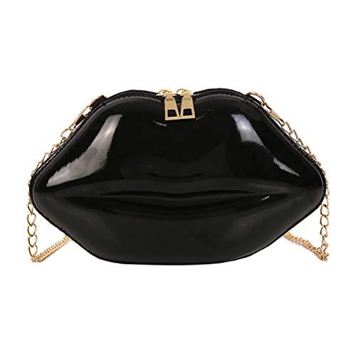 TENDYCOCO Umhängetasche Crossbody Handtasche Lippen Mini Handtaschen Kette Messenger Schultertasche für Frauen Mädchen (Schwarz)