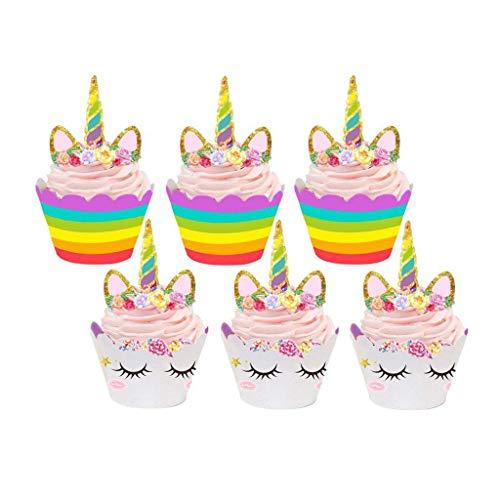 Tumao Einhorn Cupcake Toppers 24 Stücke, Unicorn Kuchen Dekoration für Geburtstag, Party