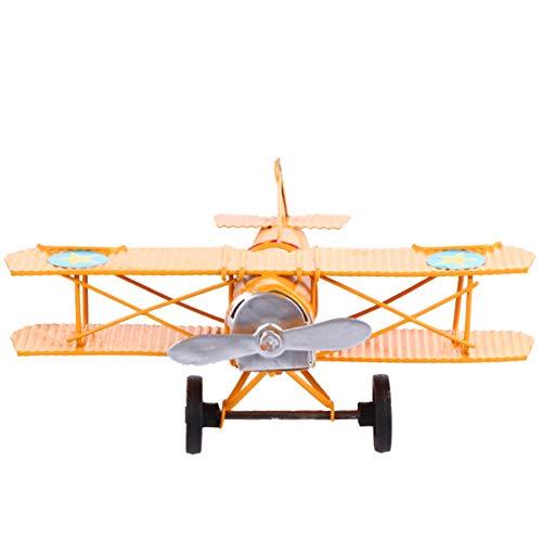 VOSAREA Vintage Flugzeug Modell Retro Eisen Flugzeug Doppeldecker Segelflugzeug Spielzeug Tischdekoration für Kinder Jungen Geschenk Home Decoration Ornament Foto Requisiten