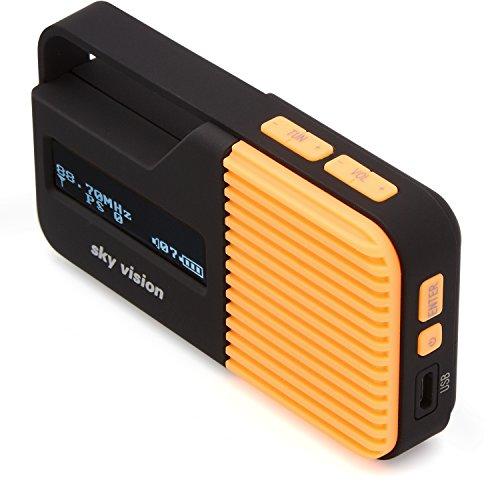 Sky Vision DAB Radio 12 O – Kleines, tragbares Mini Digital Radio, Outdoor, DAB+, FM/UKW Tuner, USB Ladefunktion (Orange)