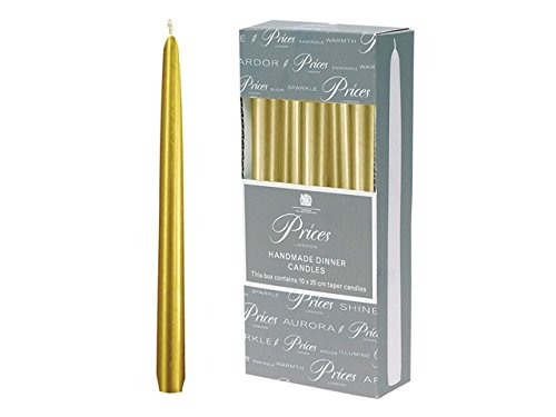 Prices 10 inch Metallic Gold Dinner Candles, 10 Pack, Individually Wrapped