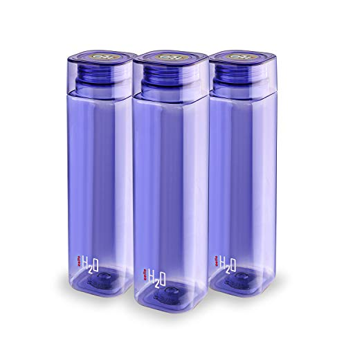 Cello H2O Squaremate Plastic Water Bottle, 1-Liter, Set of 3, Purple