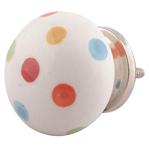 Indianshelf Handmade 6 Pieces Ceramic Polka Dot Multicolor Door Knobs for Cabinet Dresser Drawer Pulls Artistic Online
