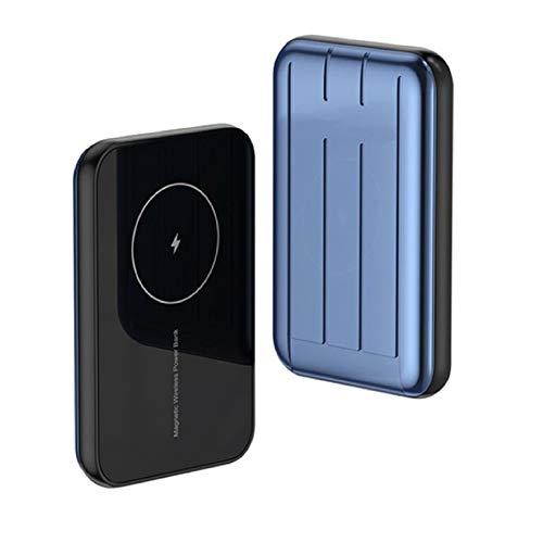 Amkeou Cargador Inalámbrico mag-Safe 15W Fast Power Bank, 5000 / 10000mAh Mini Cargador Portátil, Adecuado para iPhone 12/12 Mini/Pro/MAX (Azul,10000mAh)