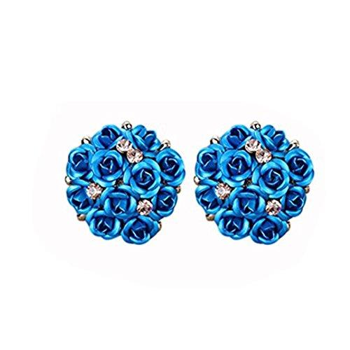 DZT1968 Women Girl Summer Bohemia Flower Anti-allergy Rhinestone Earrings (A)