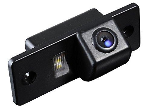 Greatek Auto Rückfahrkamera verbesserte Einparkhilfe mit 8IR Nachtsicht 170° Weitwinkel Wasserdicht Hoche Defination (schwarz) für Auto VW Skoda Touareg Tiguan Santana Golf 5 6 7 car Camera