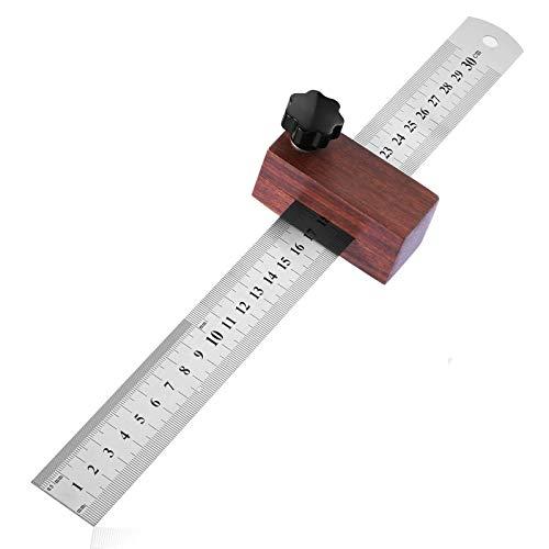 Streichmaß Anschlaglineal, Suzzam Anreisslineal[EG-1]30mm Streichmaß mit Anschlag aus Holz Linealanschlag Anreisswerkzeug