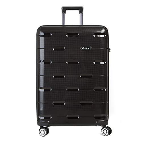 Set valigie da viaggio in Polipropilene - Trolley Rigidi e Leggeri con 4 Ruote - 55x40x22 Bagaglio a Mano/Bagaglio medio/Bagaglio grande da stiva (Nero, L (75cm-91L))