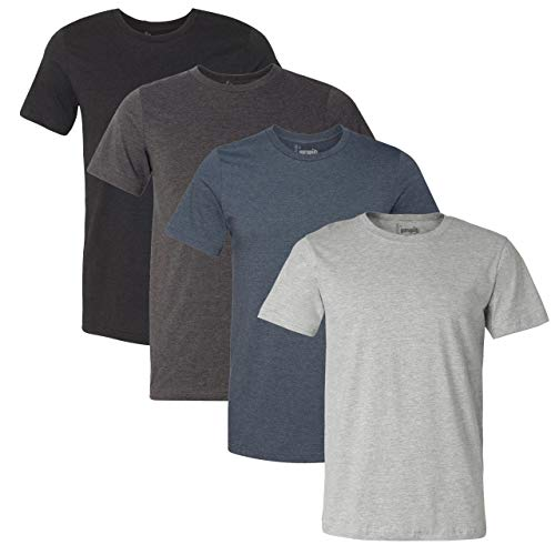 Gurupia Mens Crew Neck T Shirts for Men Short Sleeve - (Heather Essentials - Large) Pack of 4