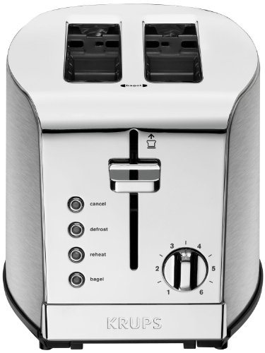 KRUPS KH732D50 2-Slice Toaster, Stainless Steel Toaster, 5 Functions with Cancel, Toasting, Defrost,...