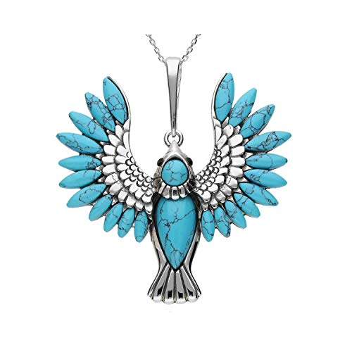 MILENA Pendant Necklace Silver and Turquoise - Paradise Bird
