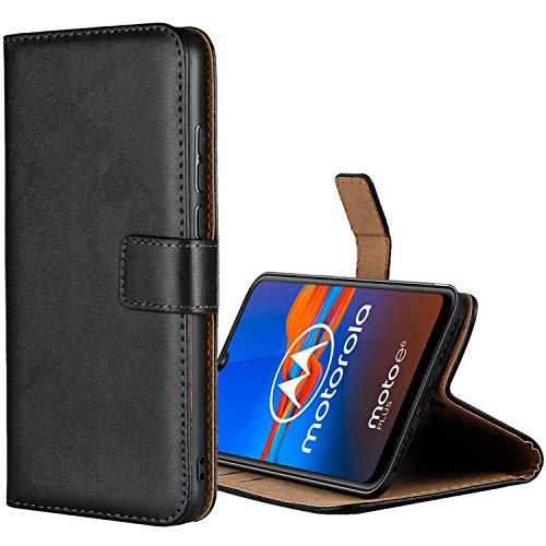 Aopan Moto E6 Plus Hülle, Flip Echt Ledertasche Handyhülle Brieftasche Schutzhülle für Motorola Moto E6 Plus, Schwarz