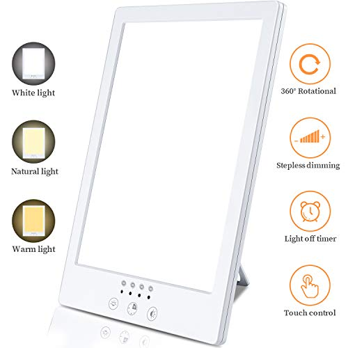 Buy Discount visnfa Happy Light Lamp, UV-Free 10000 Lux LED Touch Control Light, 3 Color Temperature...