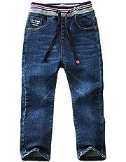 LAPLBEKE Garçon Jeans Pantalon Denim Enfant Sport Casual Taille Elastique Long Chaud Confort Souple