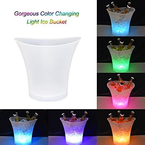 GOHHK LED-Eiskübel, 5 l Weinkühler mit großer Kapazität, wasserdicht mit wechselnden Farben, Retro-Champagner-Weingetränke-Biereimer, für Party, Zuhause, Bar usw.