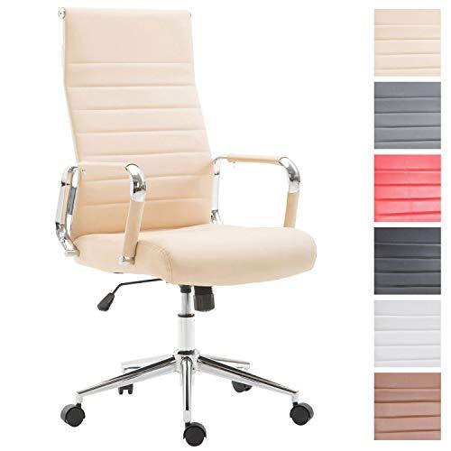 Drehstuhl KOLUMBUS mit Kunstlederbezug I Chefsessel mit stufenloser Sitzhöhenverstellung I Bürosessel mit Laufrollen, Farbe:Creme