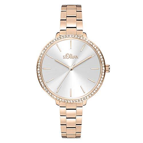 s.Oliver Damen Analog quarz Armbanduhr mit Edelstahl SO-4097-MQ