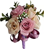 Gownlink Boutonniere Buttonholes Groom Groomsman Best Man Rose Flowers Accessories Prom Suit Decoration,Groom