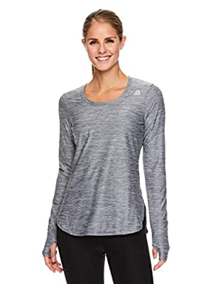 Reebok Women's Legend Long Sleeve Running T-Shirt & Gym Top - Performance Training & Workout Clothes for Women - Legend Quiet Shade Heather, Small