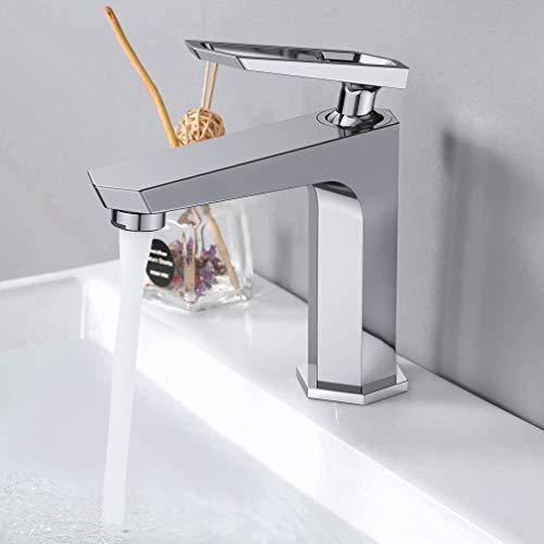 Synlyn Wasserhahn Bad Armatur Waschtischbatterie aus Messing Verchromter Badarmatur Sechseckiges Spültischarmatur Waschbeckenarmatur mit Keramikventilkern Einhandmischer für Waschbecken