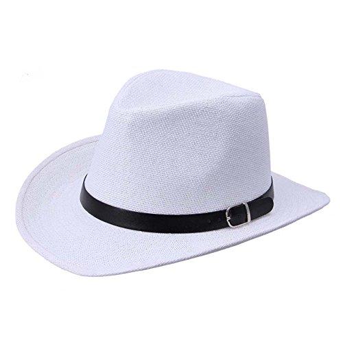 LOPILY Sombrero de Panamá Sombrero de Playa Sombrero para El Sol Verano Sombrero de Paja Protección UV para Hombres con Grosgrain Sencillo Sombrero de Cinta Casual Gorra de montañismo