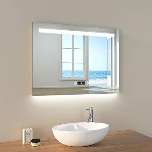 EMKE LED Badspiegel 80x60cm Badspiegel mit Beleuchtung kaltweiß Lichtspiegel Badezimmerspiegel Wandspiegel mit Touchschalter, beschlagfrei, Uhr, IP44 energiesparend