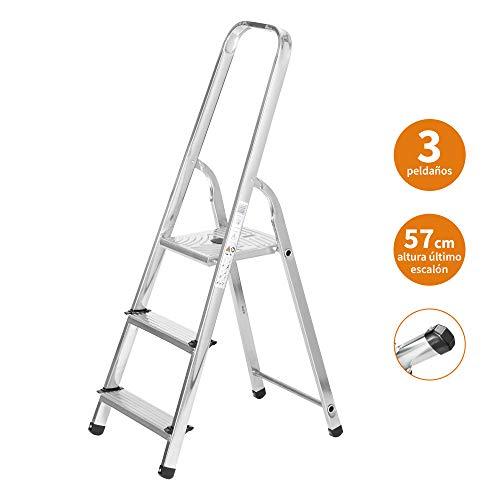Escaleras Plegables Aluminio 3 Peldaños de Tijera Super Resistente hasta 150Kg, Acero y Aluminio Antideslizantes, Altura de Trabajo hasta 260cm | Packer PRO
