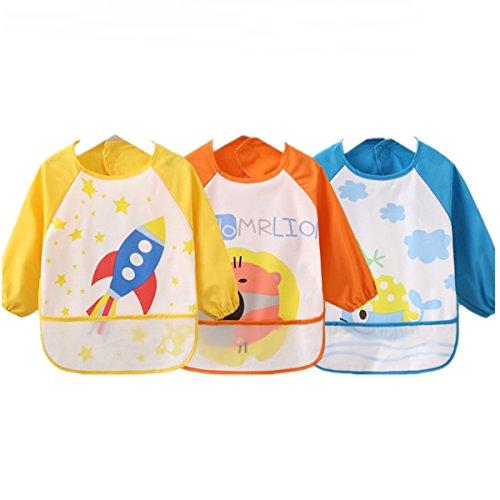 HaimoBurg Pack de 3 Baberos Impermeable PEVA de Manga Larga Para Bebé Niños Niñas 0 a 3 años