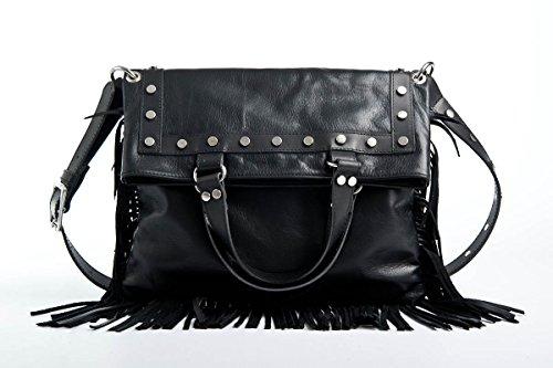 Passione Loredana Bags - Borsa da donna in pelle nera borchiata con frange da portare a mano o tracolla. Made in Italy