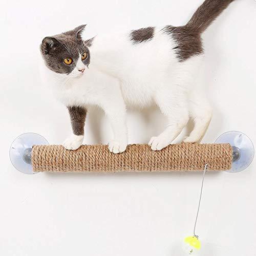 Dracol Rascador para gatos, juguete para rascar con campana para gatos, árbol pequeño con ventosas, columnas con sisal natural