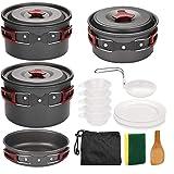 Kit De Lío Acampar Utensilios De Cocina con Estufa Que Acampa Plegable, De Aluminio Quemador, Antiadherente Ligera Pots Pan con Platos Cucharas Forks 5-6 Personas para Cocinar Rojo