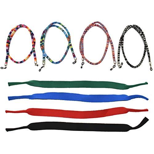 Liwein Brillenband Sport,8 Stück Brillenkordel Brillenbändel Buntes Brillenschnur Geflochtenes Seil Anti-Rutsch Brillenkette für Damen Herren Kinder Sonnenbrillen Lesebrillen