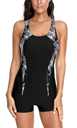 CharmLeaks Women's Sports One Piece Bathing Suits Boyleg Athletic Swimsuit Swimwear Black S