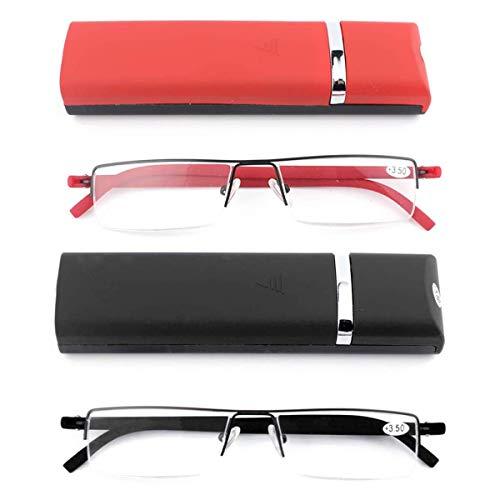 2er-pack Ultraleichte TR90 Lesebrillen Herren Damen Klassische Metall Sehhilfe Halbrandbrille Schmal Stil Brille Lesehilfe mit Etui und Brillenputztuch +2.0