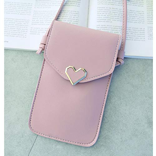 Transparante Mini Cross Body Bag Dames touchscreen Mobiele telefoon Schoudertas Hartvormig ornament PU lederen tas Drukknoop (Lichtroze)