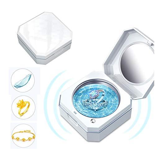 Ringe Maschine 45Ml Tragbarer Schmuck-Reinigungs-Maschine Für Die Reinigung Der Kontaktlinsen-Halskette Armband Münze Polieren, Haus Und Reisen Einfach Tragetasche, Weiß