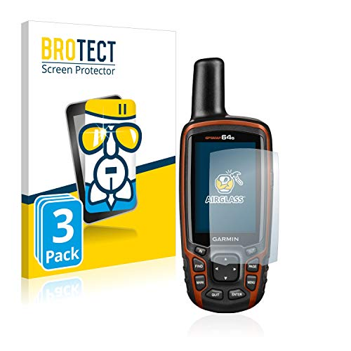 brotect Pellicola Protettiva Vetro Compatibile con Garmin GPSMAP 64s (3 Pezzi) Schermo Protezione, Estrema Durezza 9H, Anti-Impronte, AirGlass