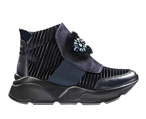 Baldinini 6623 Blue Leather Fashion Italian Designer Women Sneakers