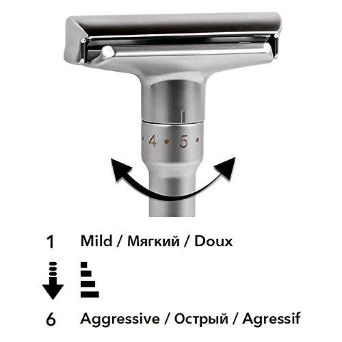 高品質で調節可能なダブルエッジ・クラシック安全カミソリ(カミソリ1本、スタンド1つ&チタンコート替え刃5枚)